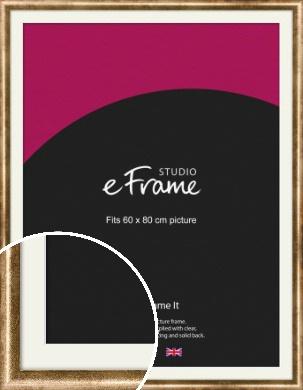 Rounded Edge Antique Gold Picture Frame & Mount, 60x80cm (VRMP-118-M-60x80cm)