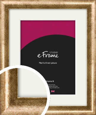 Rounded Edge Antique Gold Picture Frame & Mount, 6x8