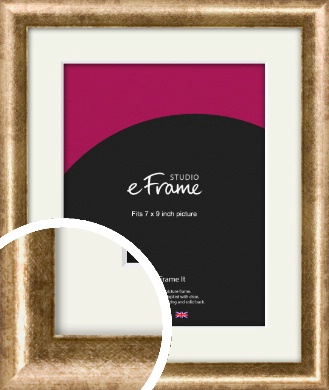 Rounded Edge Antique Gold Picture Frame & Mount, 7x9