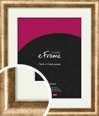 Rounded Edge Antique Gold Picture Frame & Mount, 8x10