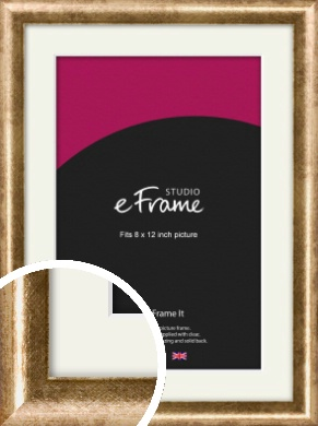 Rounded Edge Antique Gold Picture Frame & Mount, 8x12