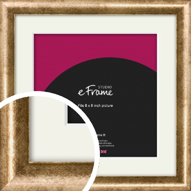 Rounded Edge Antique Gold Picture Frame & Mount, 8x8
