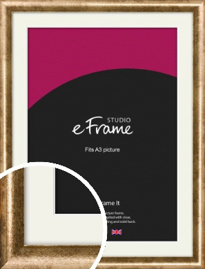 Rounded Edge Antique Gold Picture Frame & Mount, A3 (297x420mm) (VRMP-118-M-A3)