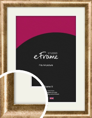 Rounded Edge Antique Gold Picture Frame & Mount, A4 (210x297mm) (VRMP-118-M-A4)