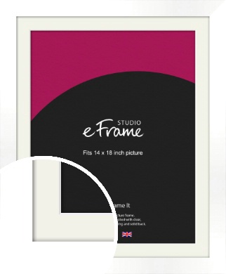 Flat Stark White Picture Frame & Mount, 14x18