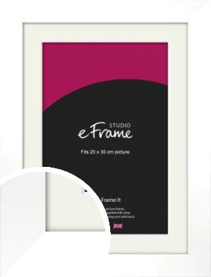 Flat Stark White Picture Frame & Mount, 20x30cm (8x12