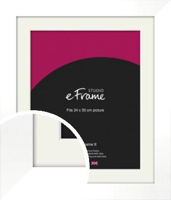 Flat Stark White Picture Frame & Mount, 24x30cm (VRMP-512-M-24x30cm)