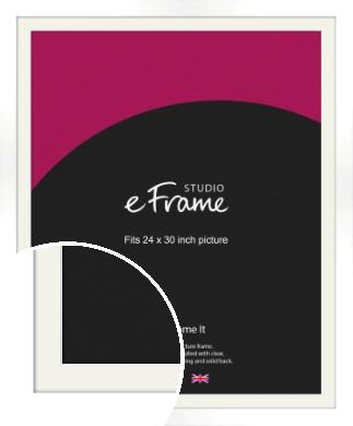 Flat Stark White Picture Frame & Mount, 24x30