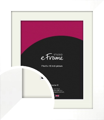 Flat Stark White Picture Frame & Mount, 8x10