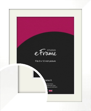 Flat Stark White Picture Frame & Mount, 9x12