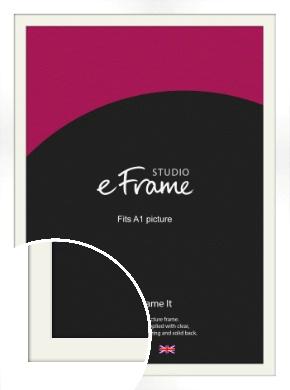 Flat Stark White Picture Frame & Mount, A1 (594x841mm) (VRMP-512-M-A1)