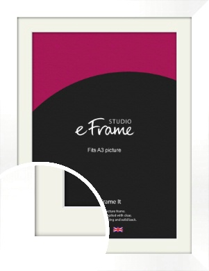 Flat Stark White Picture Frame & Mount, A3 (297x420mm) (VRMP-512-M-A3)