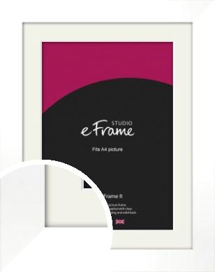 Flat Stark White Picture Frame & Mount, A4 (210x297mm) (VRMP-512-M-A4)