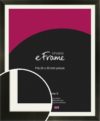 Flat Jet Black Picture Frame & Mount, 24x30