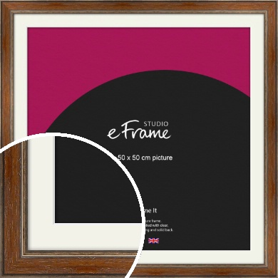 English Country Brown Picture Frame & Mount, 50x50cm (VRMP-168-M-50x50cm)