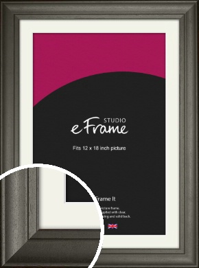 Scooped & Bevelled Black Picture Frame & Mount, 12x18