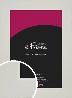 Grained Neutral White Picture Frame, 12x18