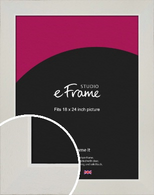 Grained Neutral White Picture Frame, 18x24
