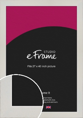 Grained Neutral White Picture Frame, 27x40