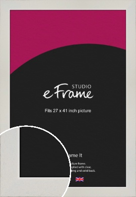 Grained Neutral White Picture Frame, 27x41