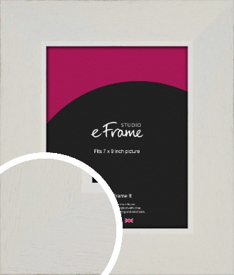 Grained Neutral White Picture Frame, 7x9