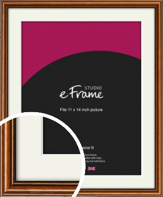 Understated Danish Brown Picture Frame & Mount, 11x14