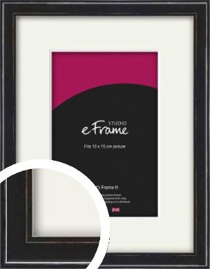 Narrow High Gloss Black Picture Frame & Mount, 10x15cm (4x6