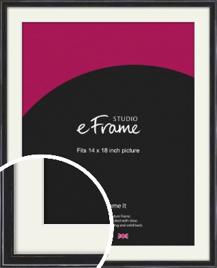 Narrow High Gloss Black Picture Frame & Mount, 14x18