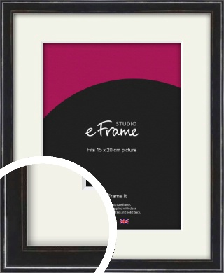 Narrow High Gloss Black Picture Frame & Mount, 15x20cm (6x8