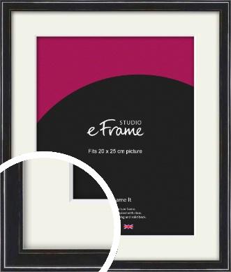Narrow High Gloss Black Picture Frame & Mount, 20x25cm (8x10