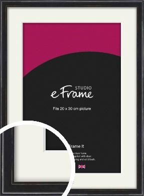 Narrow High Gloss Black Picture Frame & Mount, 20x30cm (8x12