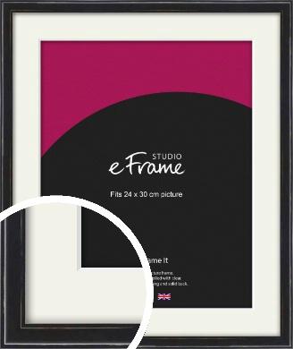 Narrow High Gloss Black Picture Frame & Mount, 24x30cm (VRMP-331-M-24x30cm)