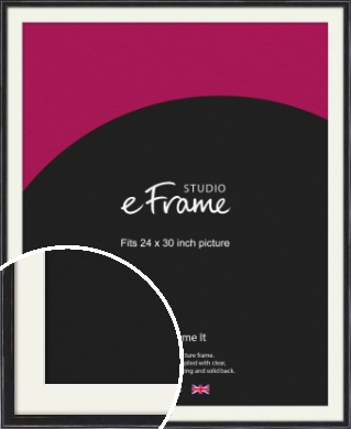 Narrow High Gloss Black Picture Frame & Mount, 24x30