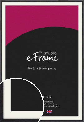 Narrow High Gloss Black Picture Frame & Mount, 24x36