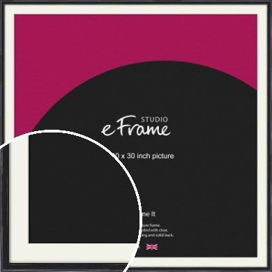 Narrow High Gloss Black Picture Frame & Mount, 30x30