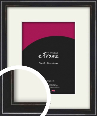 Narrow High Gloss Black Picture Frame & Mount, 4.5x6