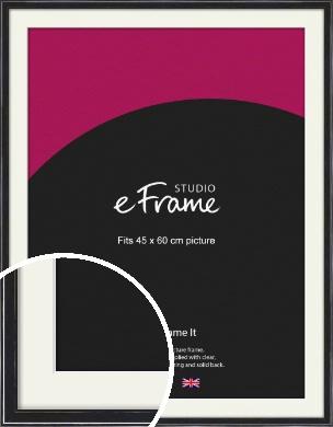 Narrow High Gloss Black Picture Frame & Mount, 45x60cm (VRMP-331-M-45x60cm)