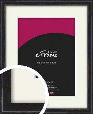 Narrow High Gloss Black Picture Frame & Mount, 6x8