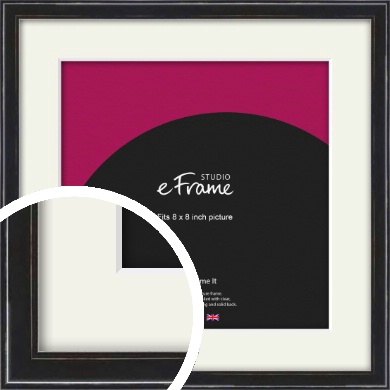 Narrow High Gloss Black Picture Frame & Mount, 8x8