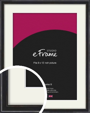 Narrow High Gloss Black Picture Frame & Mount, 9x12