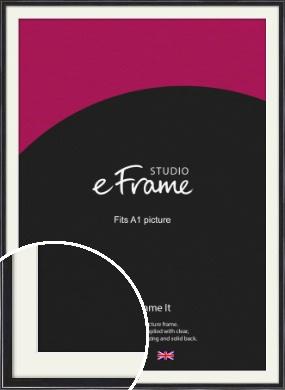 Narrow High Gloss Black Picture Frame & Mount, A1 (594x841mm) (VRMP-331-M-A1)