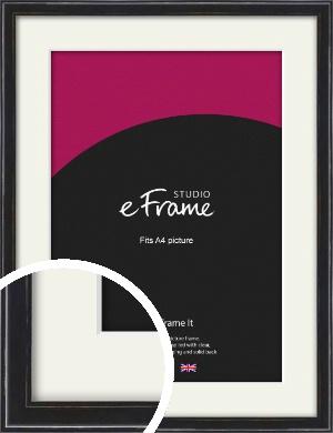 Narrow High Gloss Black Picture Frame & Mount, A4 (210x297mm) (VRMP-331-M-A4)