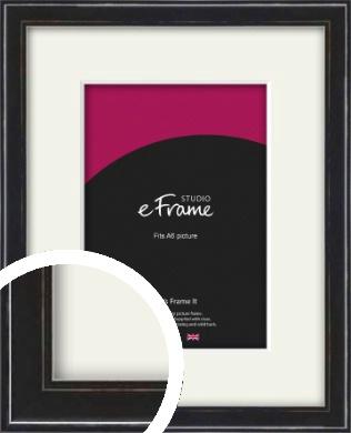 Narrow High Gloss Black Picture Frame & Mount, A6 (105x148mm) (VRMP-331-M-A6)