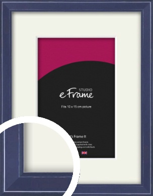 High Gloss Oxford Blue Picture Frame & Mount, 10x15cm (4x6
