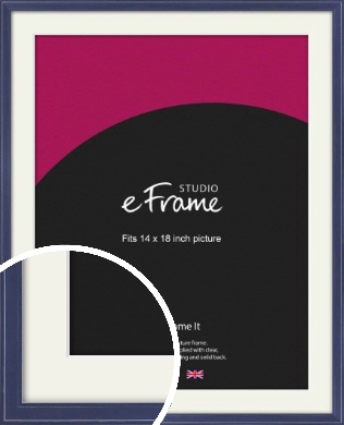 High Gloss Oxford Blue Picture Frame & Mount, 14x18