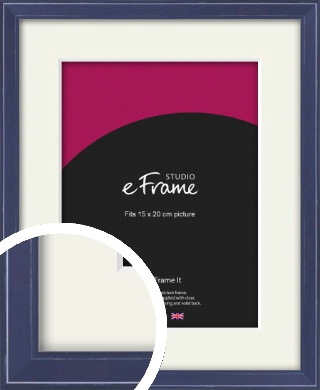 High Gloss Oxford Blue Picture Frame & Mount, 15x20cm (6x8