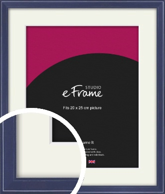 High Gloss Oxford Blue Picture Frame & Mount, 20x25cm (8x10