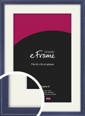 High Gloss Oxford Blue Picture Frame & Mount, 20x30cm (8x12