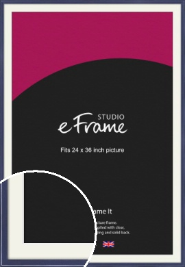High Gloss Oxford Blue Picture Frame & Mount, 24x36