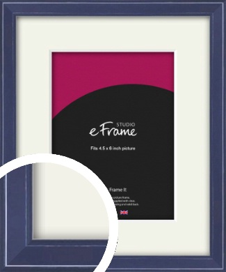 High Gloss Oxford Blue Picture Frame & Mount, 4.5x6